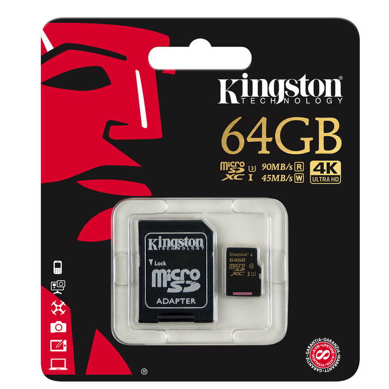 KINGSTON MICRO SD 64GB 90/45MBs